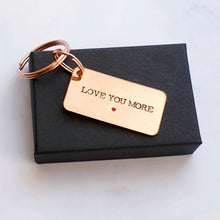 Load image into Gallery viewer, Love you more copper keyring 7th and 22nd anniversary