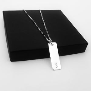 Monogram Initial Vertical Bar Necklace sterling silver