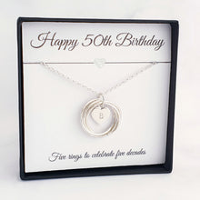 Load image into Gallery viewer, Personalised 5 Circle Necklace 50th Birthday Gift Sterling Silver