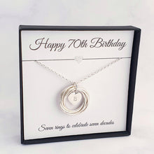 Load image into Gallery viewer, Personalised 7 Circle Necklace 70th Birthday Gift Sterling Silver