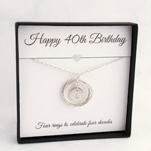 Load image into Gallery viewer, Interlocking 4 circles/rings necklace with a round disc initial