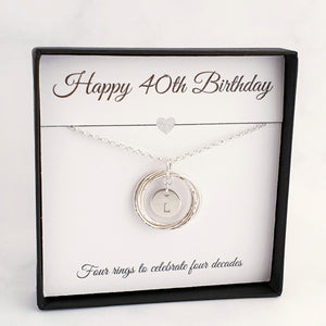 Interlocking 4 circles/rings necklace with a round disc initial