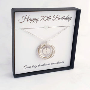 Personalised 7 Circle Necklace 70th Birthday Gift Sterling Silver