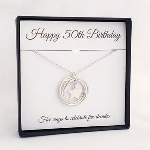 Personalised 5 Circle Necklace 50th Birthday Gift Sterling Silver