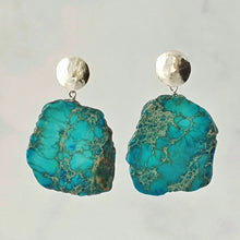 Load image into Gallery viewer, statement organic jasper earrings sterling silver with hammered disc ear posts