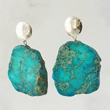 Load image into Gallery viewer, Blue Jasper hammered disc stud earrings sterling silver, 5cm drop
