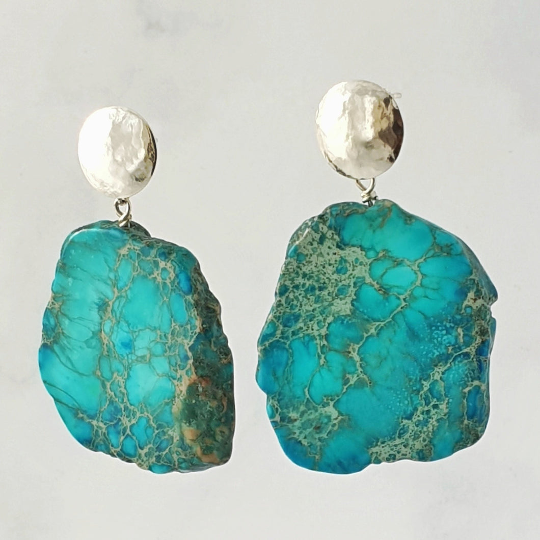 Blue Jasper hammered disc stud earrings sterling silver, 5cm drop