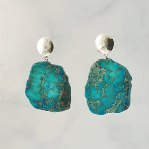 blue/green jasper statement dangle earrings sterling silver