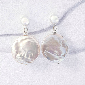 21mm x 19mm coin pearl earrings sterling silver, 6mm ball studs