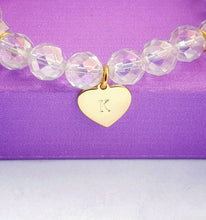 Load image into Gallery viewer, Rainbow Quartz Bracelet, personalised sterling silver gold vermeil heart charm