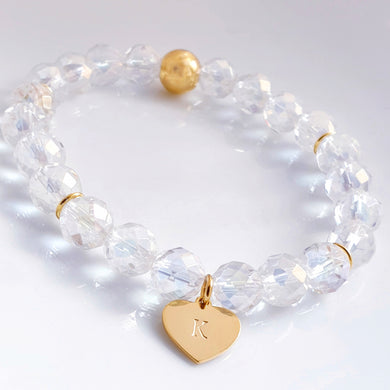 Rainbow Quartz Bracelet, personalised sterling silver gold vermeil heart charm