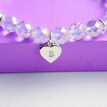 Load image into Gallery viewer, Rainbow Quartz Bracelet, personalised sterling silver heart charm