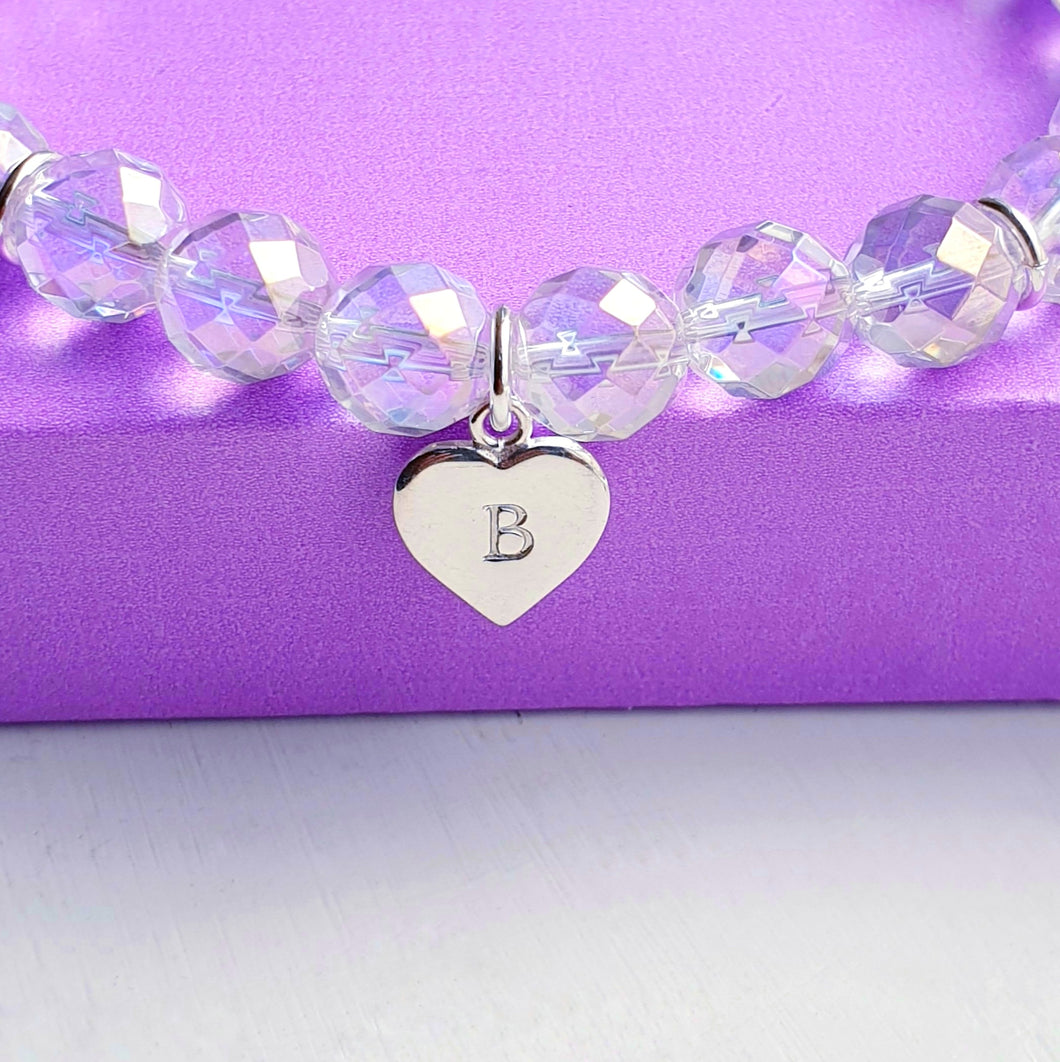 Rainbow Quartz Bracelet, personalised sterling silver heart charm