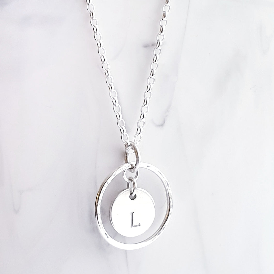 Sterling Silver Necklace - Open circle pendant with personalised disc charm in the centre.
