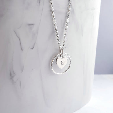 Sterling Silver Necklace - Open circle pendant with personalised heart charm in the centre.