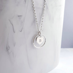 Ring Necklace Sterling Silver with Personalised Heart Charm