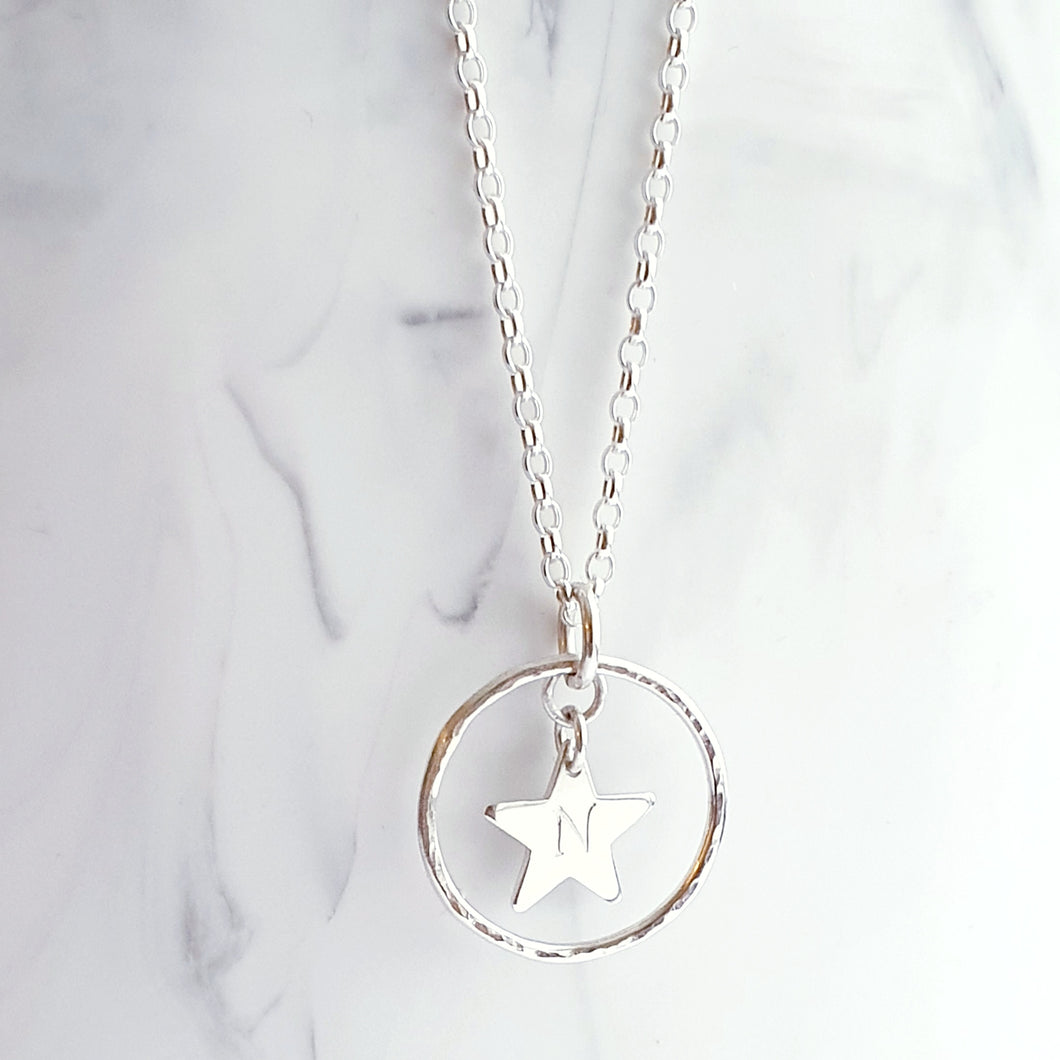 Sterling Silver Necklace - Open circle pendant with personalised star charm in the centre.