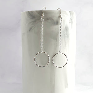 ring earrings with chain - 5cm drop