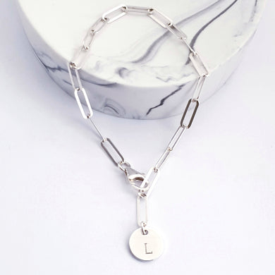 Sterling silver flat long link paperclip chain bracelet with disc charm personalised