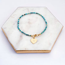 Load image into Gallery viewer, Turquoise Beaded Bracelet Personalised Gold Heart Charm