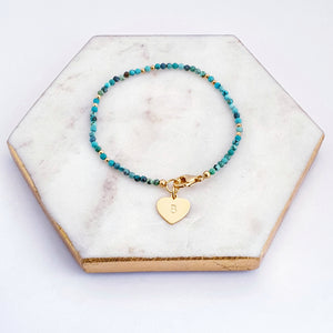 Turquoise Beaded Bracelet Personalised Gold Heart Charm