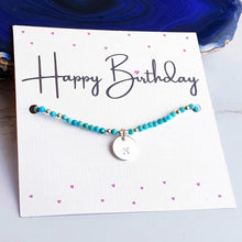 Load image into Gallery viewer, Turquoise beaded bracelet with initial