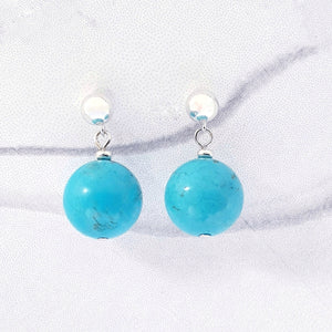 6mm stud ball earring with turquoise blue magnesite gemstone sterling silver