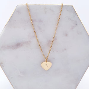 Gold heart necklace personalised with initial