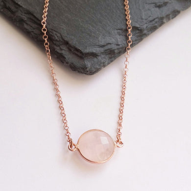 Rose quartz necklace with chain either side.  Rose vermeil and rose gold plated sterling silver