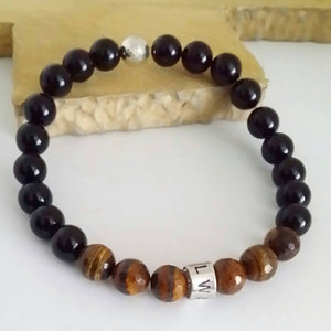 Tigers Eye and Black Agate Personalised Beaded Bracelet