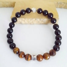 Load image into Gallery viewer, Tigers Eye and Black Agate Personalised Beaded Bracelet