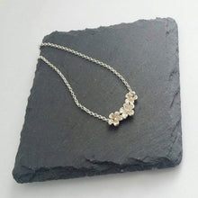 Load image into Gallery viewer, Sterling silver, 3 flower pendant necklace, 24mm x 12mm.