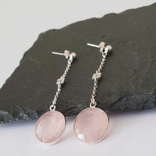 Load image into Gallery viewer, Chain earrings with Rose Quartz drop and a cubic zirconia in the centre of the chain