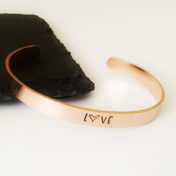 Copper bangle cuff hand stamped with LOVE or personalised with wording of your choice. 150mm x 6mm copper bangle.