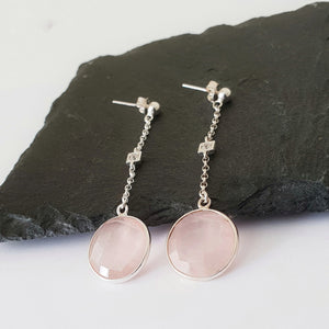 Chain earrings with Rose Quartz drop and a cubic zirconia in the centre of the chain