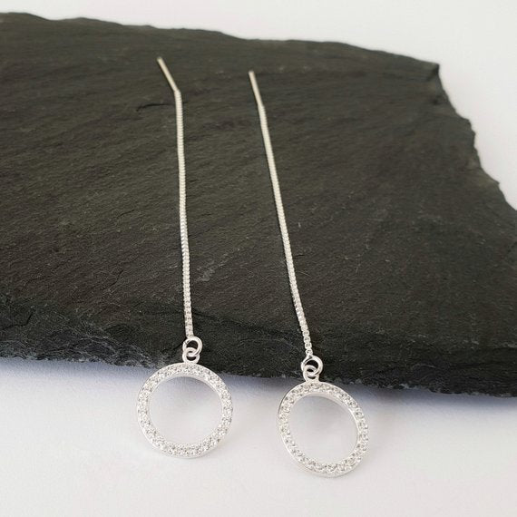 Sterling silver threader earrings with cubic zirconia circles suspended at the bottom - 9cm total length