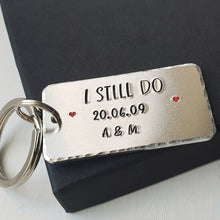 Load image into Gallery viewer, Personalised I STILL DO keyring with red hearts.  Add anniversary date and initials. 45mm x 25mm, textured around the edges.