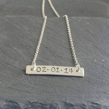 Load image into Gallery viewer, Personalised horizontal bar necklace with a date of your choice.  Sterling Silver
