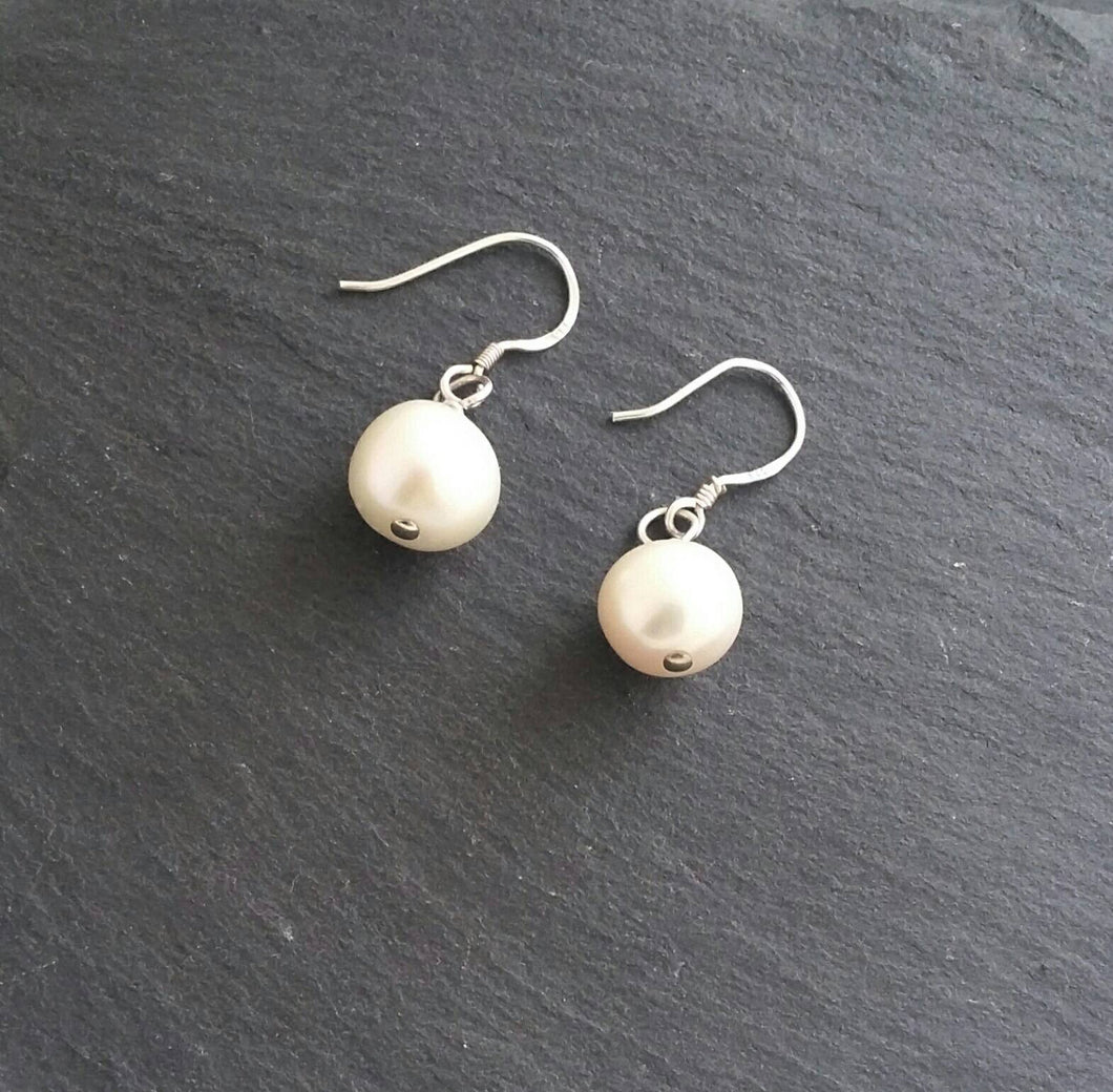 White Drop Pearl Earrings Sterling Silver
