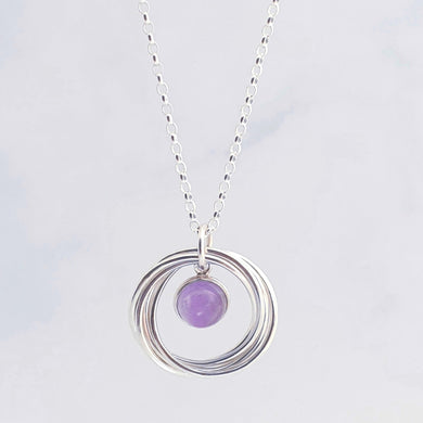 Interlocking circles/rings necklace, amethyst gemstone in centre