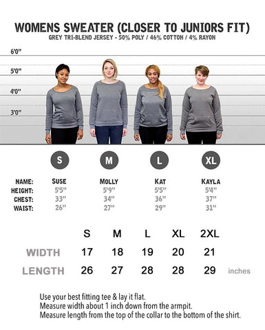 Womens Pocket Sweatshirt Size Chart