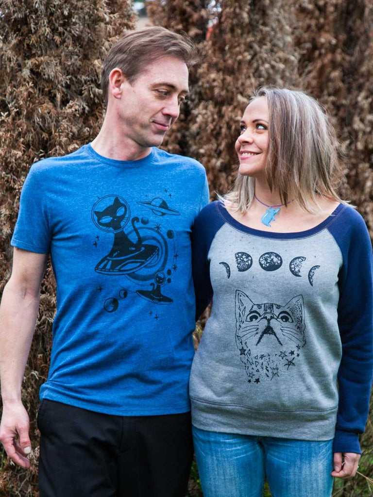 Moon Phases Cat Sweatshirt - Revival Ink Shirts