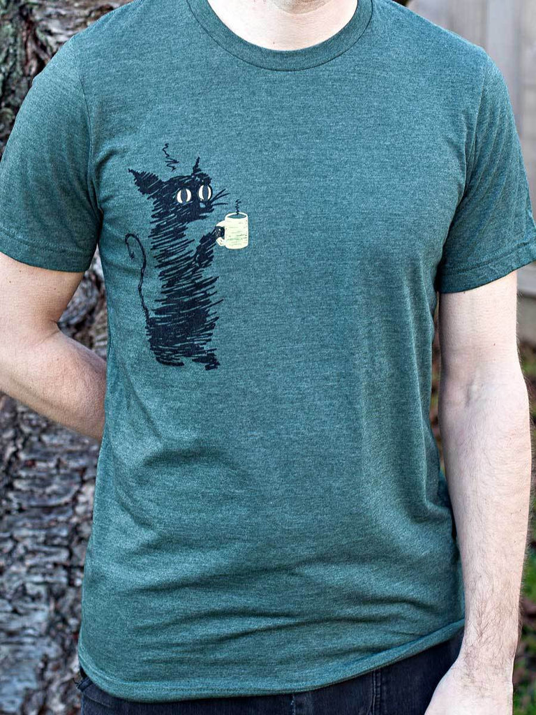 Coffee Cat Mens T-shirt - Revival Ink Shirts
