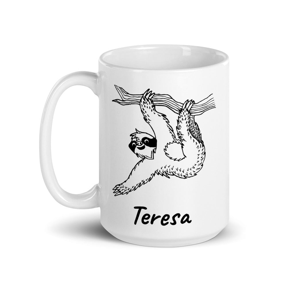 Personalized Sloth Coffee Mug with Name - Revival Ink Shirts