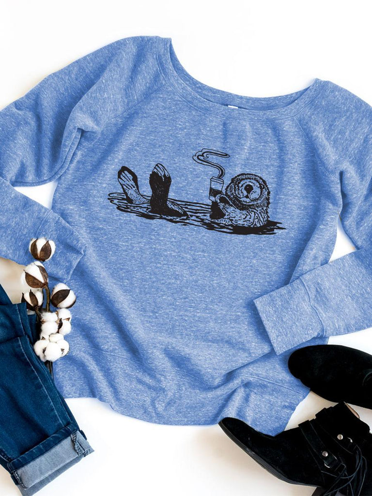 Coffee Otter Womens Sweatshirt - Revival Ink Shirts