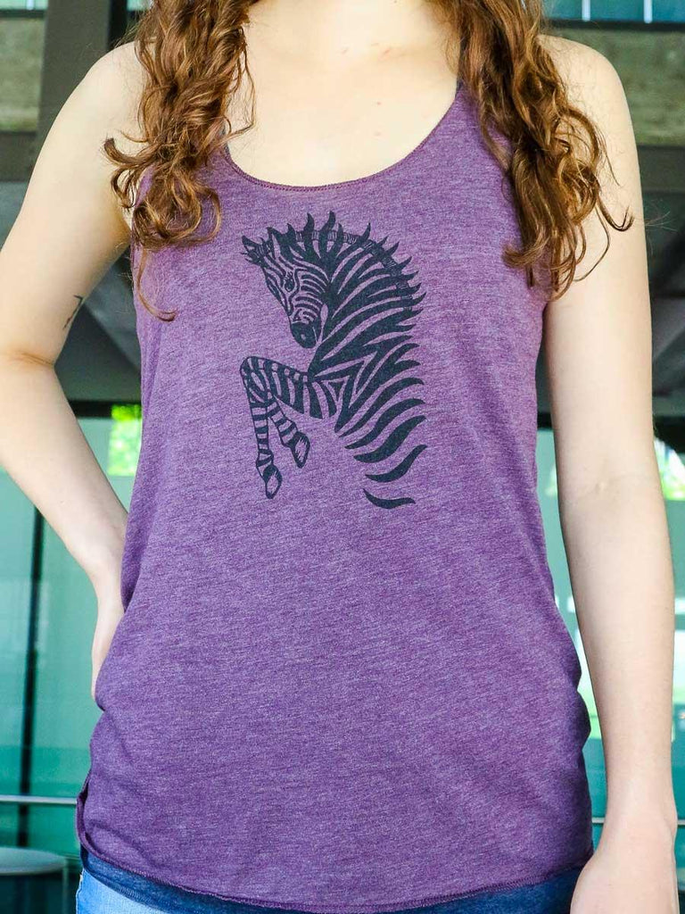 Zebra Printed Ladies Tank Top - Revival Ink Shirts
