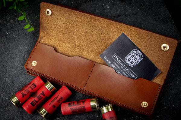 leather firearm certificate holder open with coupland leather business card