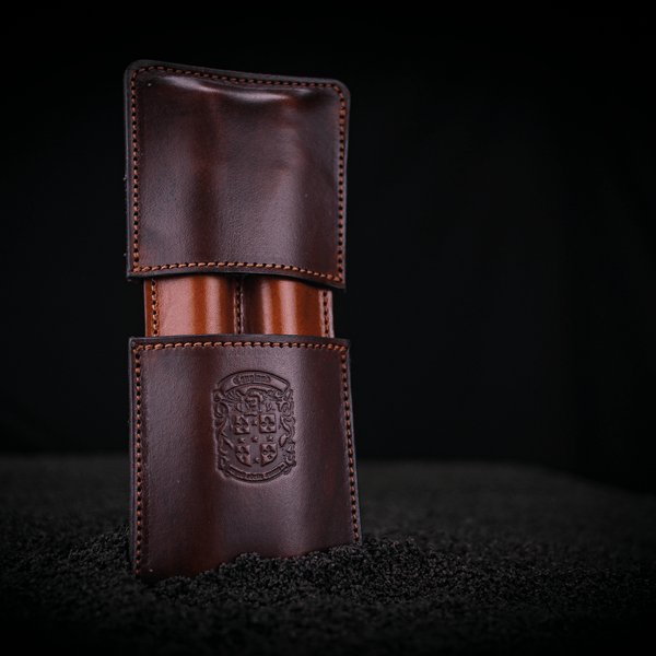 the holmes leather double cigar case with coupland crest