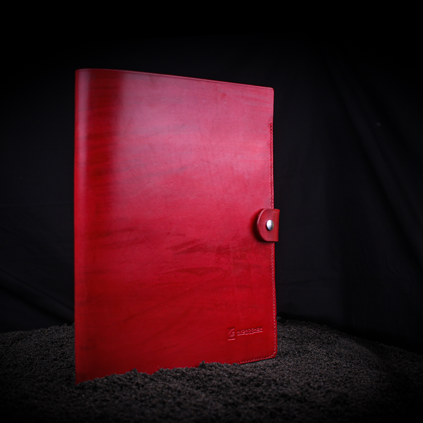 A4 red leather book cover closed