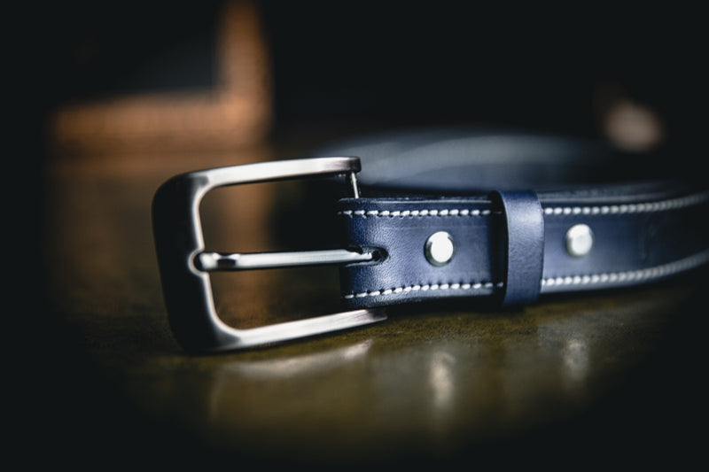 25mm ladies leather belt, blue with white stitching and close up of silver buckle